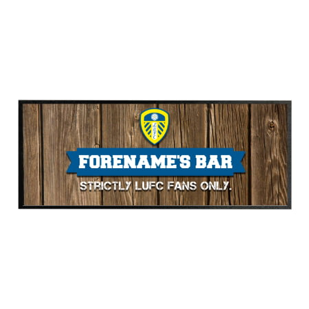 Personalised Leeds United FC Wood Name Regular Bar Runner