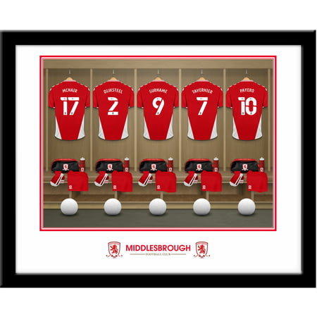 Personalised Middlesbrough FC Dressing Room Shirts Framed Print