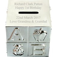 Personalised Engraved Silver ABC Moneybox
