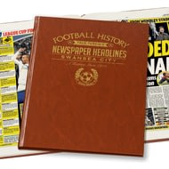 Personalised Swansea City Football Newspaper Book - Leatherette Cover