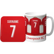 Personalised Liverpool FC Dressing Room Shirts Mug & Coaster Set