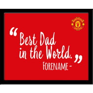 Personalised Manchester United Best Dad In The World 10x8 Photo Framed