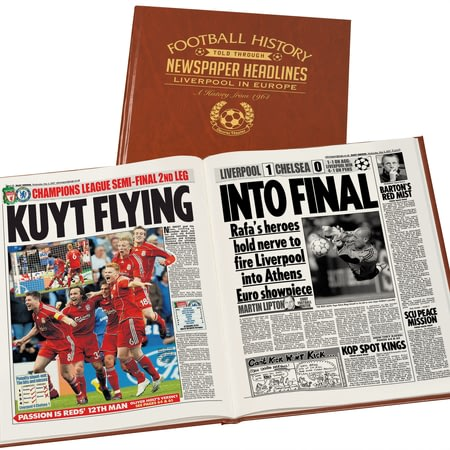 Personalised Liverpool FC In Europe Football Newspaper Book - Leatherette Cover