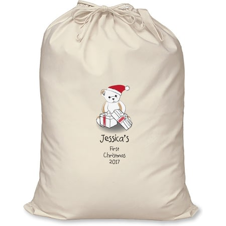 Personalised Bear My First Christmas Cotton Christmas Santa Sack