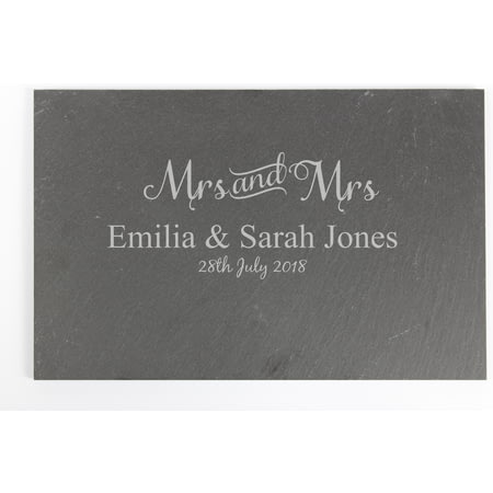 Personalised Mrs & Mrs Slate Cheeseboard Placemat