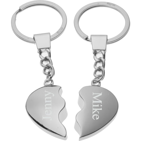 Personalised Silver Plated Joining Heart Keyrings