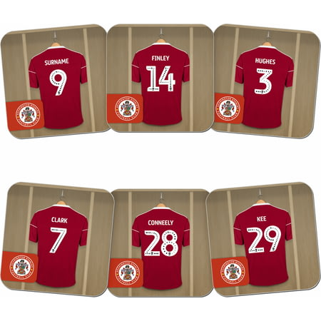 Personalised Accrington Stanley FC Dressing Room Shirts Coasters Set of 6