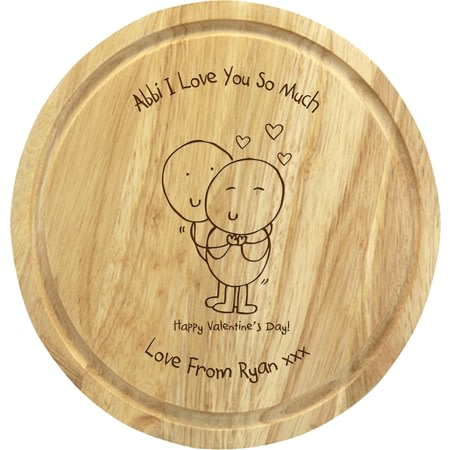 Personalised Chilli & Bubbles Valentines Round 30cms Chopping Board