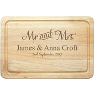 Personalised Mr & Mrs Rectangle Wooden Chopping Board