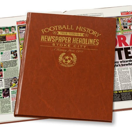 Personalised Stoke City Football Newspaper Book - Leatherette Cover