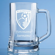 Personalised AFC Bournemouth Crest Stern Glass Pint Tankard