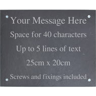 Personalised Engraved Large Slate Plaque/Sign with wall fixings - 25x20cm