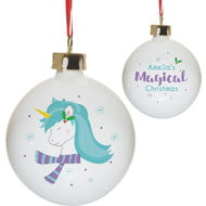 Personalised Winter Unicorn Christmas Tree Ceramic Bauble
