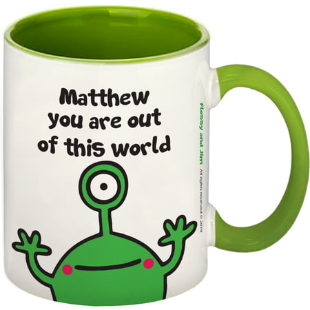 Personalised Cosmic Alien Green Inside Mug