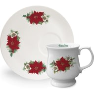 Personalised Poinsettia Flower Ceramic Mug & Tray