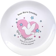 "Personalised Dove & Hearts Pink Goddaughter 8"" Bone China Coupe Plate"