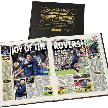 Personalised Blackburn Football Newspaper Book - Leather Cover