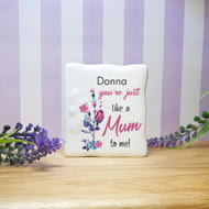 Personalised You're Just Like A Mum To Me Ceramic Message Card
