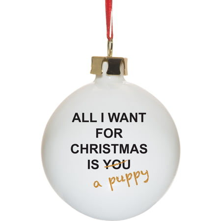 Personalised All I Want For Christmas Ceramic Christmas Tree Bauble