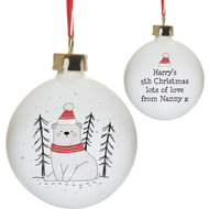 Personalised Christmas Bear Christmas Tree Ceramic Bauble