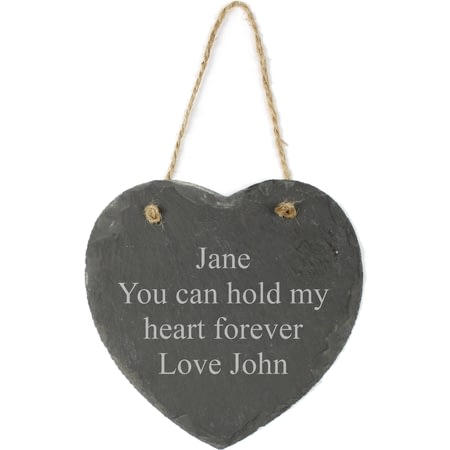 Personalised Engraved Hanging Slate Heart - Any Message