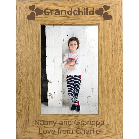 Personalised Grandchild Portrait Wooden Photo Frame