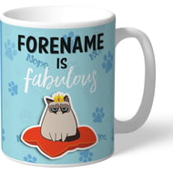 Personalised Grumpy Cat Emoji - Fabulous Mug Blue