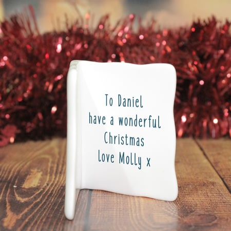 Personalised The Most Wonderful Time Of The Year Ceramic Message Card