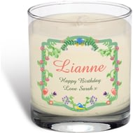 Personalised Spring Garden Vanilla Scented Candle