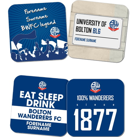 Personalised Bolton Wanderers FC Coasters