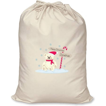 Personalised Candy Cane Bear Cotton Christmas Santa Sack