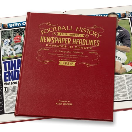 Personalised Rangers In Europe Football Newspaper Book - Leather Cover