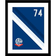 Personalised Bolton Wanderers Stripe Framed Print