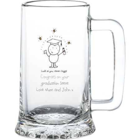 Personalised Chilli & Bubble's Graduation Glass Stern Tankard