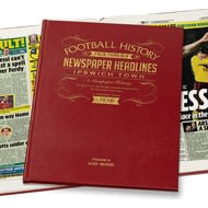 Personalised Ipswich Football Newspaper Book - Leather Cover