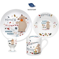 Personalised Musical Makka Pakka Ceramic 4 Piece Breakfast Set