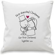 Personalised Chilli And Bubbles Married Christmas Cushion Cover