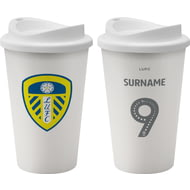 Personalised Leeds United FC Back Of Shirt 350ml Reusable Tea / Coffee Cup