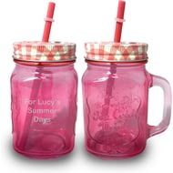 Personalised Pink Coloured Mason Jar With Straw