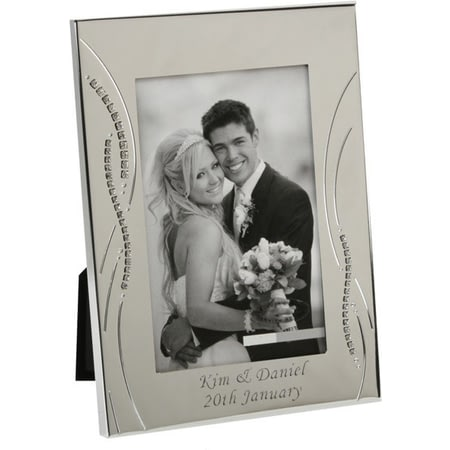 Personalised Silver Plated 8x10 Diamante Edge Frame