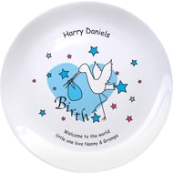 "Personalised Stork Blue Birth 8"" Bone China Coupe Plate"