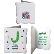 Personalised Very Hungry Caterpillar Spotty Initial Ceramic Message Card