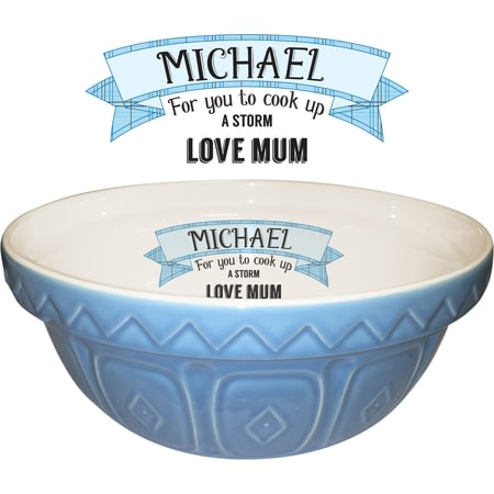 Personalised Blue Large Ceramic Mixing Bowl And 1930 Recipe Book