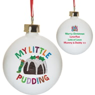 Personalised Very Hungry Caterpillar My Little Pudding Ceramic Christmas Tree Bauble