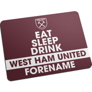 Personalised West Ham United FC Eat Sleep Drink Mouse Mat