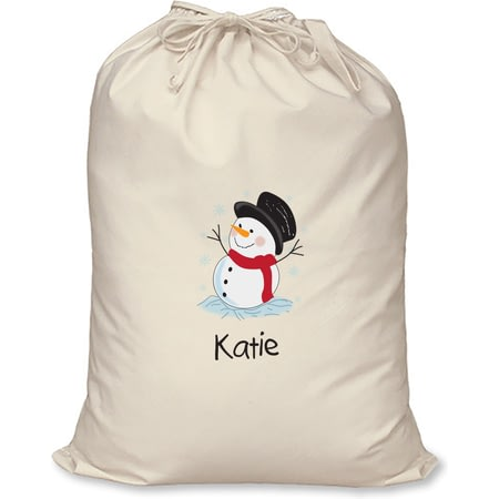 Personalised Snowman Cotton Christmas Santa Sack