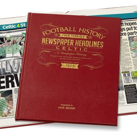 Personalised Celtic Football Newspaper Book - Leather Cover
