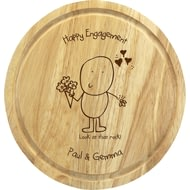 Personalised Chilli & Bubble's Engagement Round Chopping Board