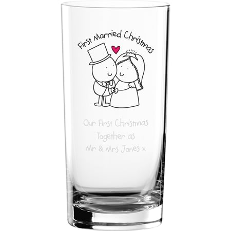 Personalised Chilli & Bubble's First Married Christmas Hi Ball Glass