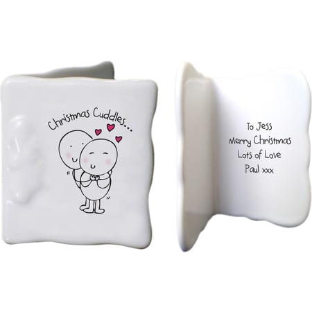 Personalised Chilli & Bubbles Christmas Cuddles Ceramic Message Card